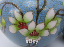 Asian Cloisonné 8 Enamel Vases Pair 2 Cherry Blossom Vintage Free Shipping