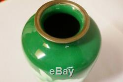 Attractive mid-century Japanese cloisonne green and yellow vase