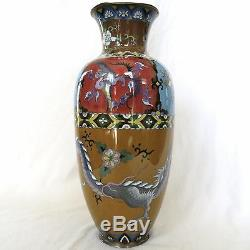 BIG 18.45 Antique Japanese Meiji Cloisonne Vase with Phoenix Birds & DRAGON