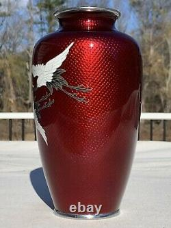 Beautiful Japanese Silver Cloisonne Enamel Cranes In Flight Vase