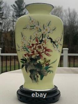 Beautiful Large Japanese Ando Silver Wireless Cloisonne Enamel Vase Yellow