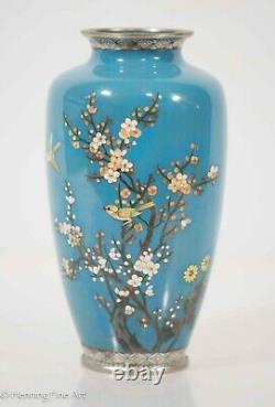 Beautiful Vintage Japanese Blue Cloisonne Vase with Cherry Blossoms & Birds