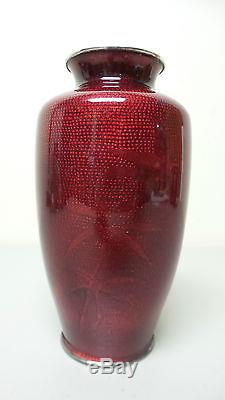 Beautiful Vintage Japanese Cloisonne Pigeon Blood Vase, Silver Rim, Showa Era