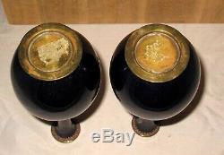 Bottle Form Meiji Japanese Cloisonne Enamel Pair Vases with Swirling Dragons