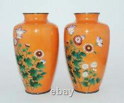 Bright Orange Pair of Japanese Cloisonne Enamel Vases with Flowers