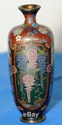 C19th Japanese Cloisonne 4 panel Decorated Pair of Vases 6