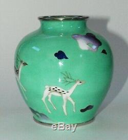 Charming Japanese Cloisonne Enamel Vase with Stylized Deer by Sato Workshop