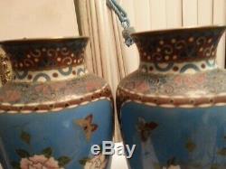 Charming PAIR 19 century Japanese CLOISONNE ENAMEL VASES