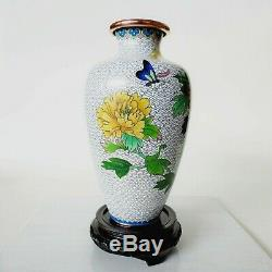 Cloisonne Vase 9.25 chrysanthemums butterfly mid century Chinese or Japanese