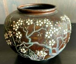 Cloisonne Vase Bronze Cherry Blossom and Kanji Old Japanese Antique Meiji Japan