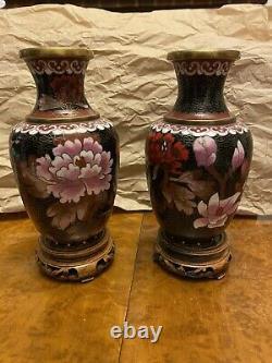 Cloissone Enamel Vases On Stand pair
