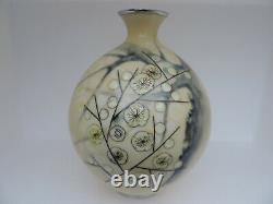 Damaged Large Vintage Signed Japanese Cloisonne Vase Plum Blossoms By Tamura