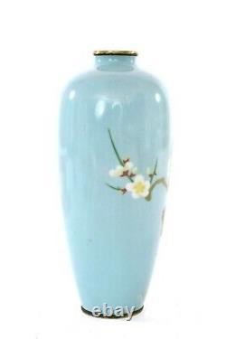 Early 20C Japanese Wireless Cloisonne Enamel Shippo Vase Plum Blossom