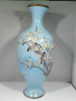 Early 20th Century Japanese Cloisonne Vase With Birds And Apple Blossoms