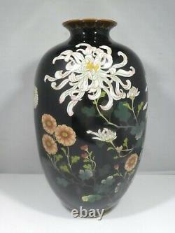 Early 20th Century Japanese Cloisonne Vase With Chrysanthemums
