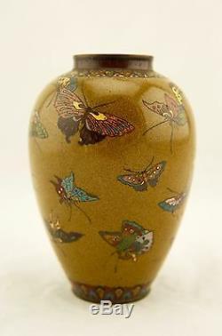 Early Namikawa Meiji Japanese Cloisonne enamel Butterfly yellow-ground vase