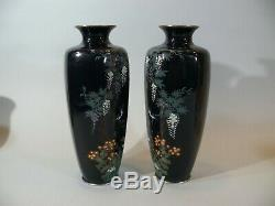 Excellent Pair High Quality Signed Japanese Cloisonne Vases