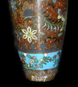 Exceptional Antique Rare Japan Meiji Pair Of Cloisonne Enamel & Goldstone Vases
