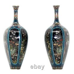 Exceptional Meiji Period Japanese Cloisonne Enamel Vase Pair Ota Hyozo