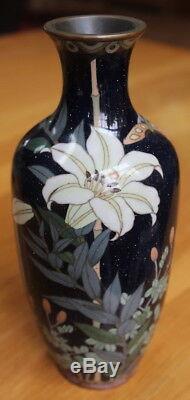 Exceptional large Meiji cloisonné vase! Deep blue. Goldstone. 9 FREE SHIPPING
