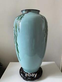 Exceptionally Rare Japanese Meiji Moriage Cloisonne Vase by Honda Yusaburo