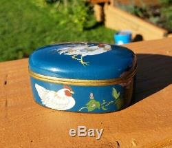 Exquisite Japanese Cloisonne Cockerel Rooster Box In Style Of Namikawa Sosuke