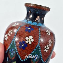 FINE Antique JAPANESE Ginbari CLOISONNE VASE Flowers Butterfly ORNATE Design
