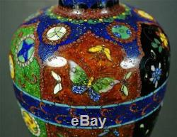 FINE & GORGEOUS Meiji Japanese Antique Cloisonne Vase with Goldstone Ground