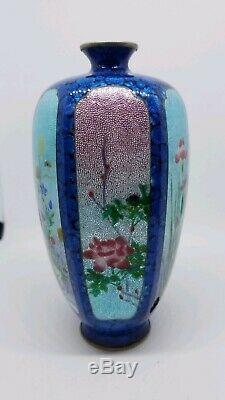 Fine 6 panel japanese jin bari cloisonne vase. Signed. Silver wire, silver foil