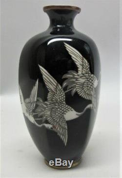 Fine Antique ANDO MEIJI-ERA CLOISONNE Vase with 5 Red Crested Cranes c. 1930
