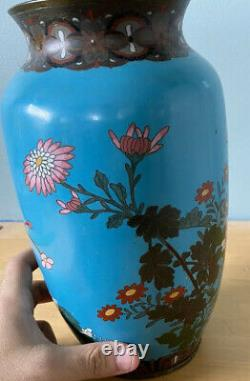 Fine Antique Japanese Cloisonne Vase Meiji Period Large 10in Chinese