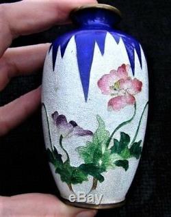 Fine Antique Meiji Ginbari Japanese Miniature Cloisonne Vase signed Matsu-ya