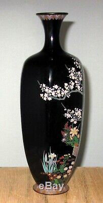 Fine Meiji Japanese Cloisonne Silver Wire Enamel Vase with Basket Garden Scene