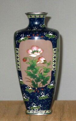 Fine Meiji Japanese Four Panel Silver Cloisonne Enamel Vase Signed Ando