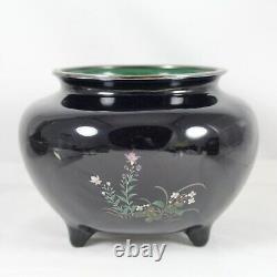 Fine Meiji Period Japanese Cloisonne Enamel Vase w Silver Wire & Rim, Nice Form