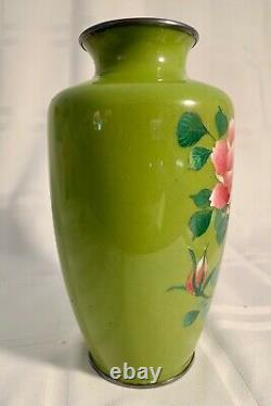 Fine Old Japanese Cloisonne Vase In Unusual Colors. Mint