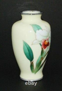 Fine Quality Japanese Cloisonne Enamel Vase with Orchid Ando Workshop
