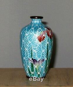 Fine Unique Ginbari Japanese Cloisonne Enamel Vase with Flowers Signed Goto