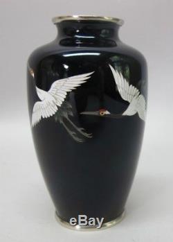 Fine Vintage JAPANESE ANDO CLOISONNE Vase Red Crested Cranes c. 1930 antique