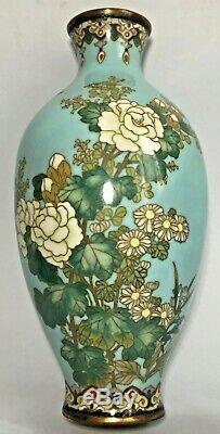 Fine quality signed Tsukamoto Japanese cloisonne enamel vases pair