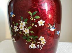 Ginbari Pigeon Blood 12 Cloisonne Vase Cherry Blossom Rare Blue Bird