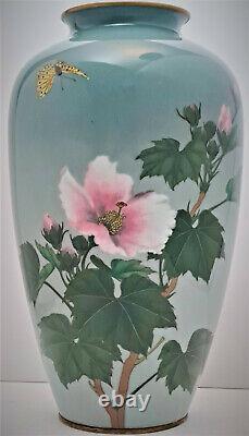 Gonda Hirosuke Signed Meiji Period Cloisonne Musen Baluster Vase Butterfly Roses