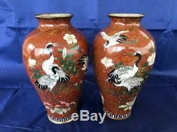 Good Pair Of Antique Japanese Meiji Cloisonne Aventurine Vases