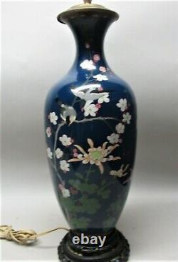 Gorgeous & Large 17.5 Antique JAPANESE CLOISONNE VASE as Lamp c. 1920