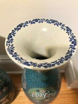 Gorgeous Pair of Antique Japanese Cloisonné On Porcelain Vases