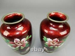 Gorgeous Pair of Inaba Japanese Silver Mounted Cloisonne vase 7.5 inches