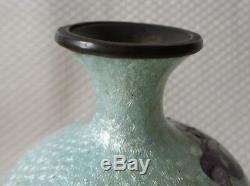 Great Antique Japanese Cloisonné Foil Ginbari Vase, White/Purple/Blue Signed