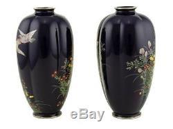 Hayashi Kodenji School Japanese Cloisonné Melon Vases Pigeon