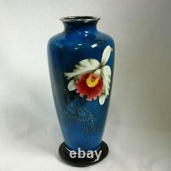 Hiroaki Ota Cloisonne vase silver wired Orchid and butterfly design