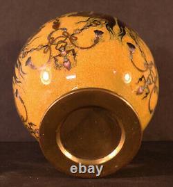 Honda Yosaburo Japanese Meiji Cloisonne Kogo Vase Lid Hoho Bird Speckled Yellow